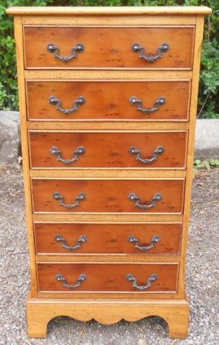 Yew Tall Narrow Chest of Drawers